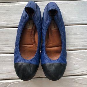 Lanvin blue ballet flats with cap-toe